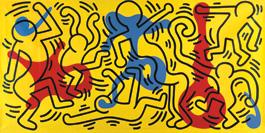 Keith Haring, ohne Titel, 1986, Acryl und Öl auf Leinwandplane, 234 x 488 cm