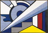 Roy Lichtenstein, Modern Painting with Wedge, 1967, Öl und Magna auf Leinwand, 87 x 125 cm