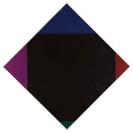 Max Bill, Diagonal-Horizontal-Quadrat mit verwanderten Ecken, 1960/1974, Öl auf Leinwand, diagonal 144 cm