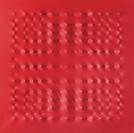 Enrico Castellani, Superficie Rossa, 2007, Acryl auf Leinwand, 100 x 100 cm