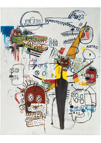 Pressefoto_Jean-Michel Basquiat_6 Months_1987_Acryl und Ölkreide auf Leinwand_kunsthalle weishaupt_VG Bild-Kunst, Bonn 2018_vorschaujpg